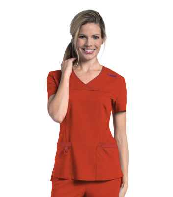 Urbane Ultra V-Neck Mock Wrap Scrub Top for Women:2 Pocket, Modern Tailored Fit, Luxe Soft Twill Stretch Medical Scrubs 9045-