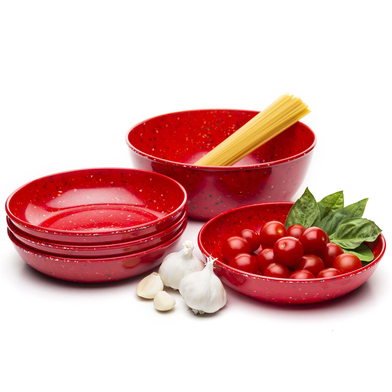 Confetti Pasta Bowl Set, Red, 5-piece set slideshow image 4