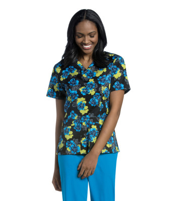 Urbane Essentials Cross-over V-Neck Scrub Top for Women: 2 Pocket, Modern Tailored Fit, 2-Way Stretch Banded 9051-Urbane