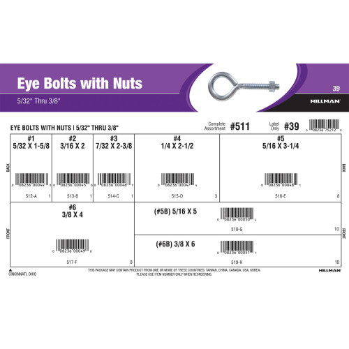Eye Bolts with Nuts Assortment (5/32