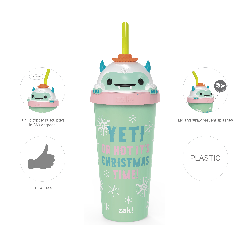 Zak Holiday 18 ounce Reusable Plastic Tumbler, Snow Buddy slideshow image 6
