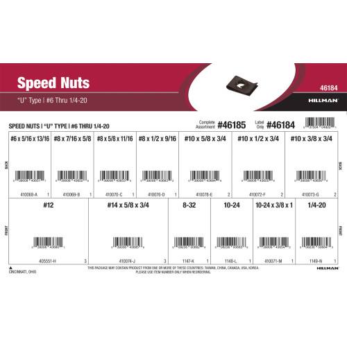 U-Type Speed Nuts Assortment (#6 thru 1/4