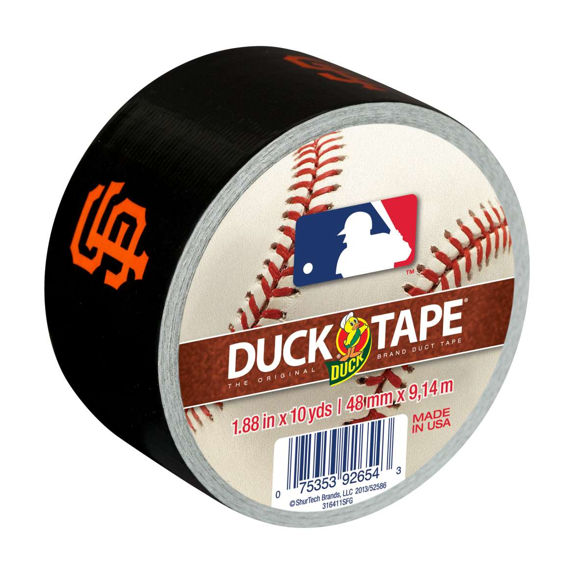 MLB Licensed Duck Tape® Brand Duct Tape - San Francisco Giants, 1.88 in. x 10 yd. Image