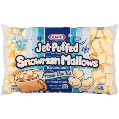 Kraft Jet-Puffed Snowman Mallows French Vanilla Marshmallows 8 oz Wrapper