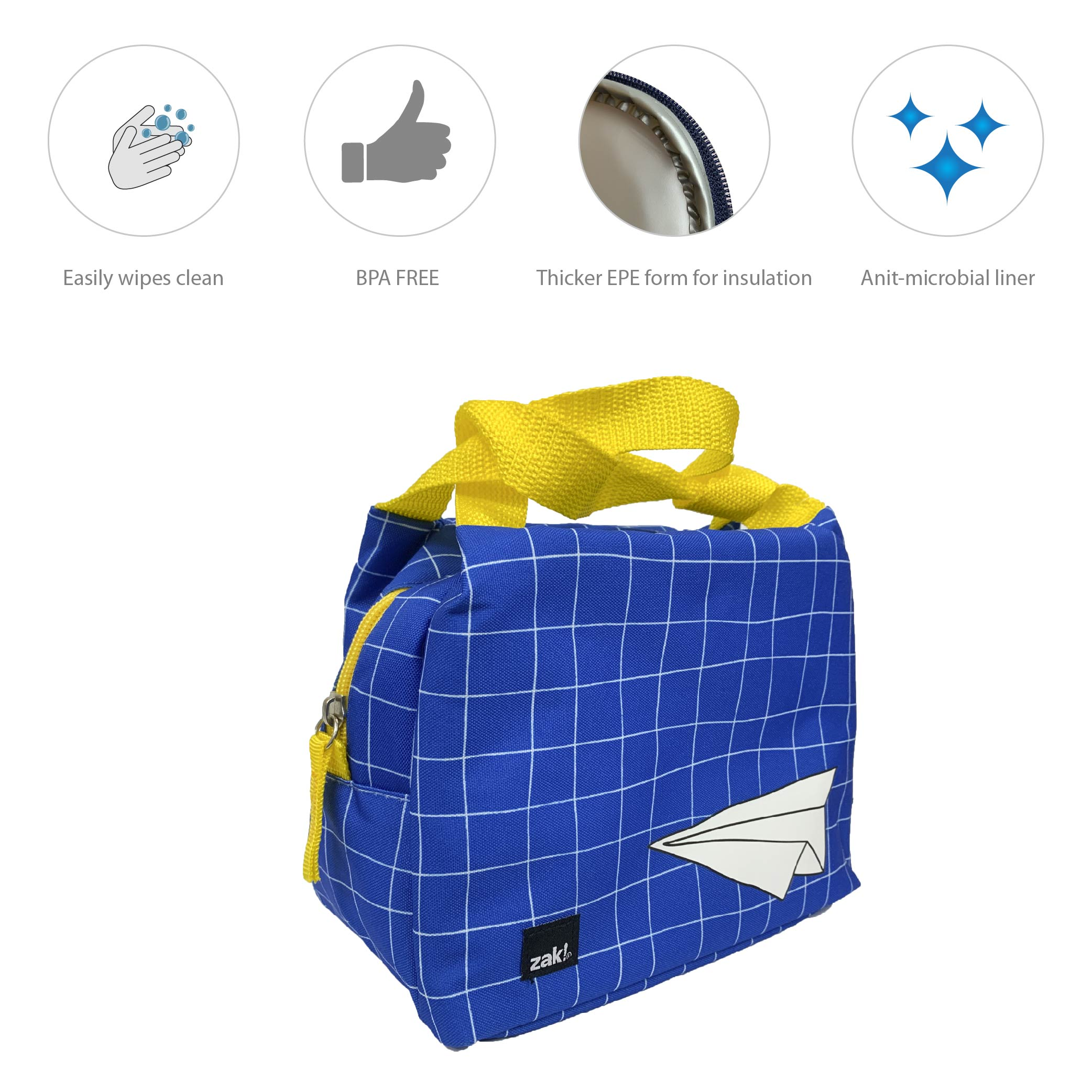 Grid Lock Purse Style Insulated Reusable Lunch Bag, Planes slideshow image 5