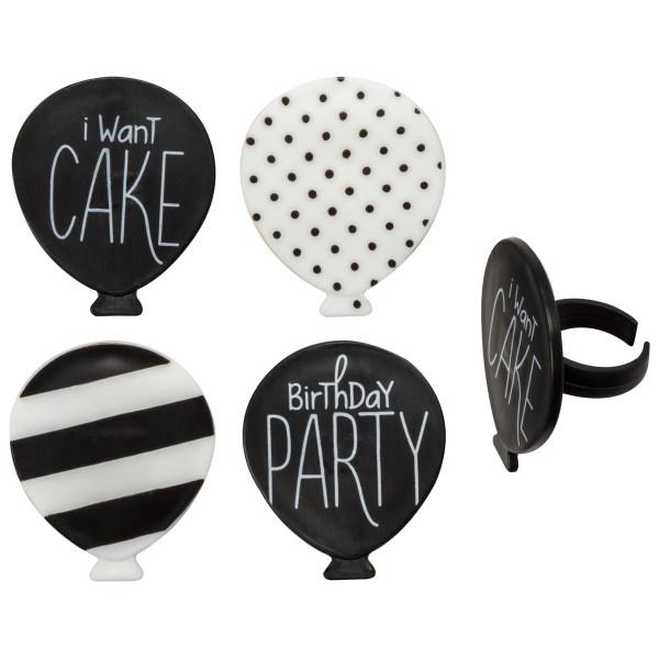 Black & White Birthday Cupcake Rings