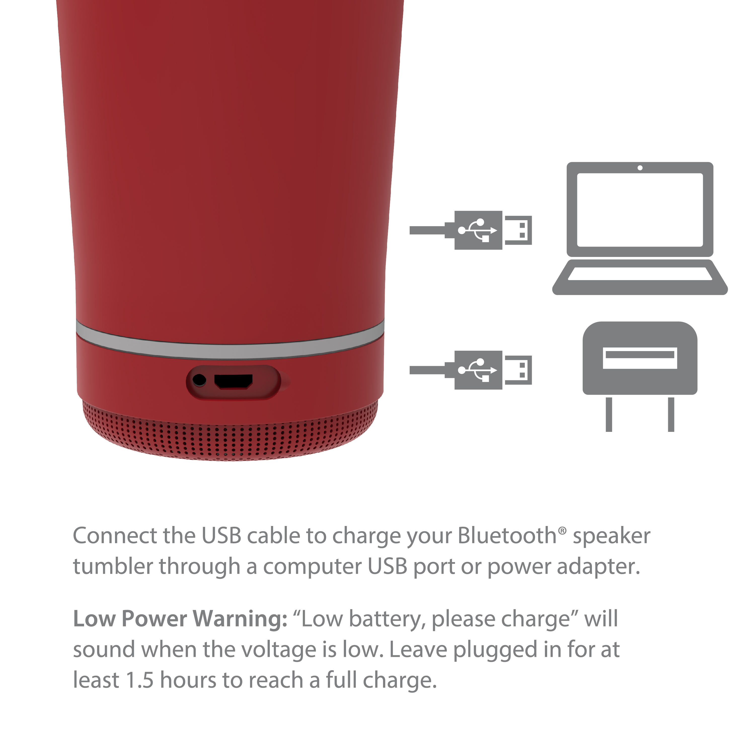 Zak Play 18 ounce Stainless Steel Tumbler with Bluetooth Speaker, Red slideshow image 7