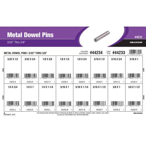 Metal Dowel Pins Assortment (3/32