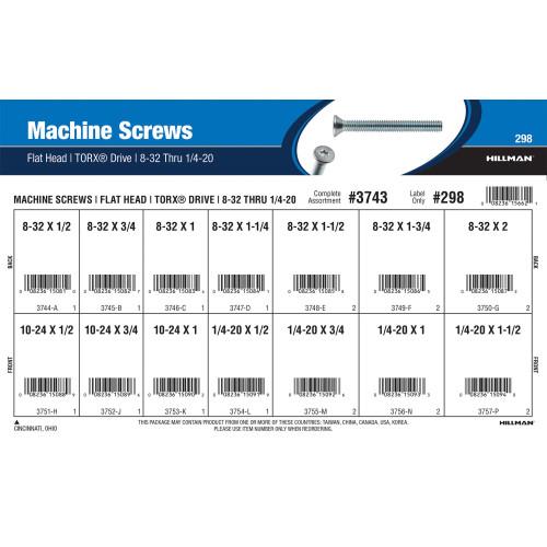 Torx Flat-Head Machine Screws Assortment (#8-32 thru 1/4