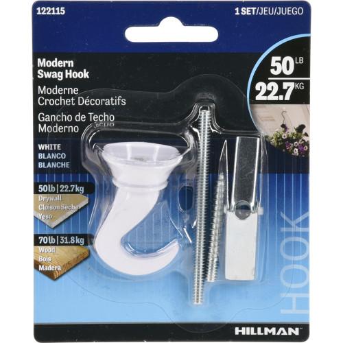 Hillman Modern Swag Hook White (50lb)
