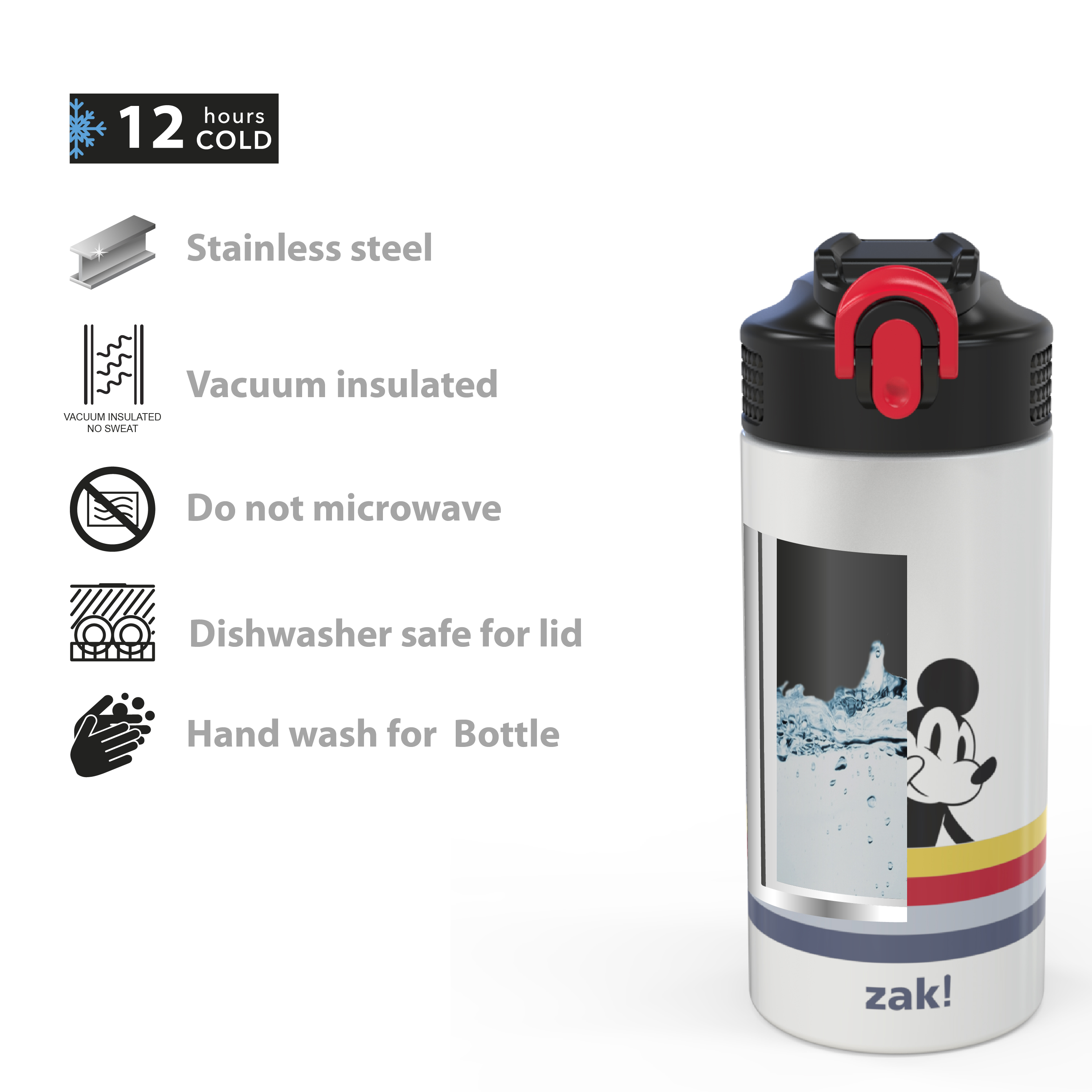 Disney 14 ounce Stainless Steel Vacuum Insulated Water Bottle, Mickey Mouse and Minnie Mouse slideshow image 5