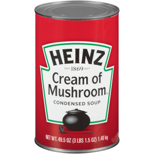 HEINZ Condensed Cream of Mushroom Soup, 49.5 oz. Can, (Pack of 12) image