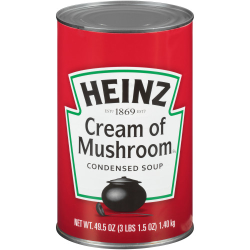 HEINZ Condensed Cream of Mushroom Soup, 49.5 oz. Can, (Pack of 12)