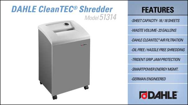 DAHLE CleanTEC® 51314 Small Office Shredder InfoGraphic