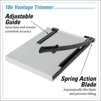 Dahle Vantage® 18e Trimmer InfoGraphic - Adjustable Guide