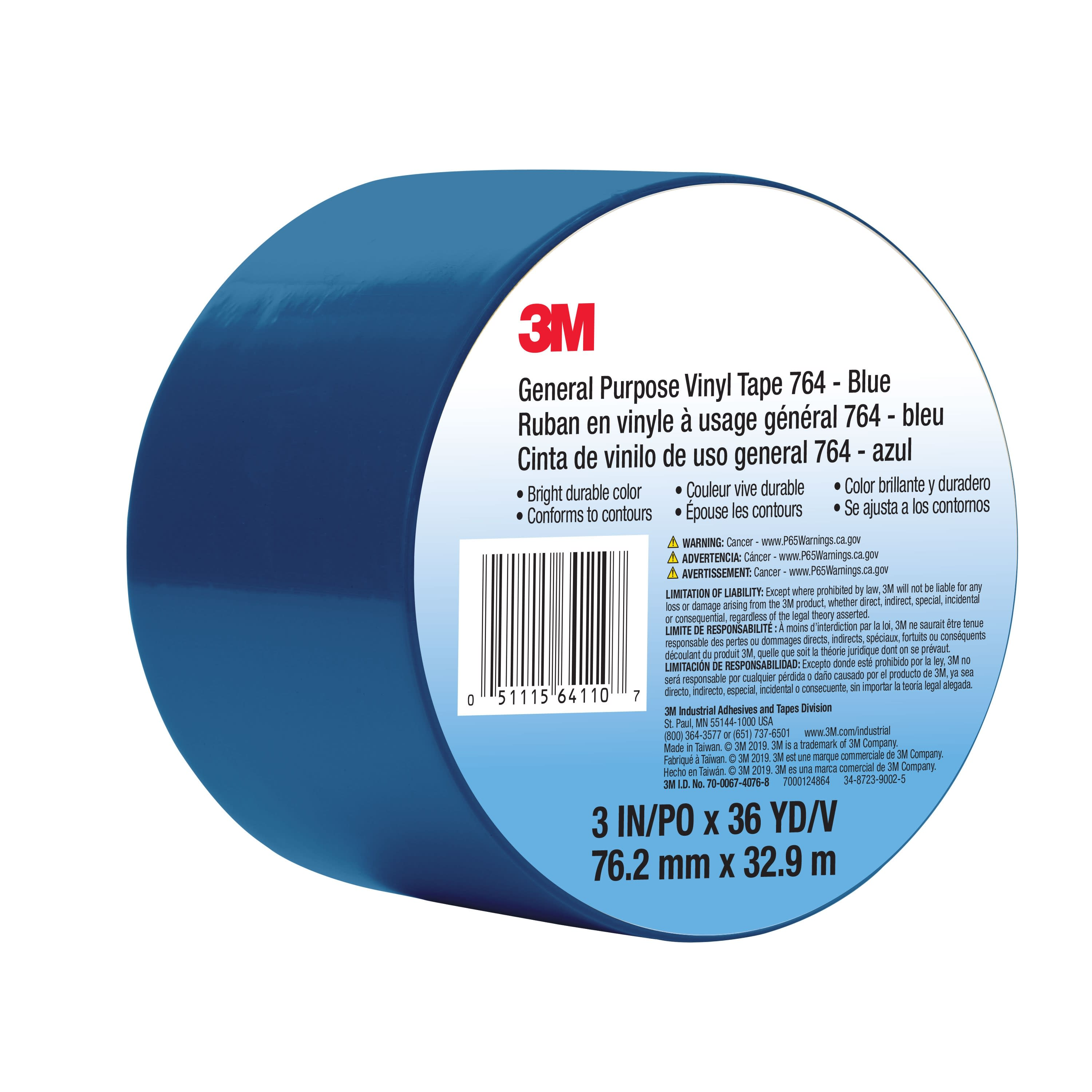 3M™ General Purpose Vinyl Tape 764, Blue, 3 in x 36 yd, 5 mil, 12 Roll/Case, Individually Wrapped Conveniently Packaged