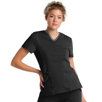Urbane Impulse Scrub Top for Women: 2-Pocket, Contemporary Slim Fit, Extreme Stretch, Mesh Trim V-Neck Medical Scrubs 9105-