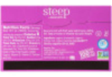 Back of steep by bigelow organic lavender chamomile herbal tea plus probiotics tea box