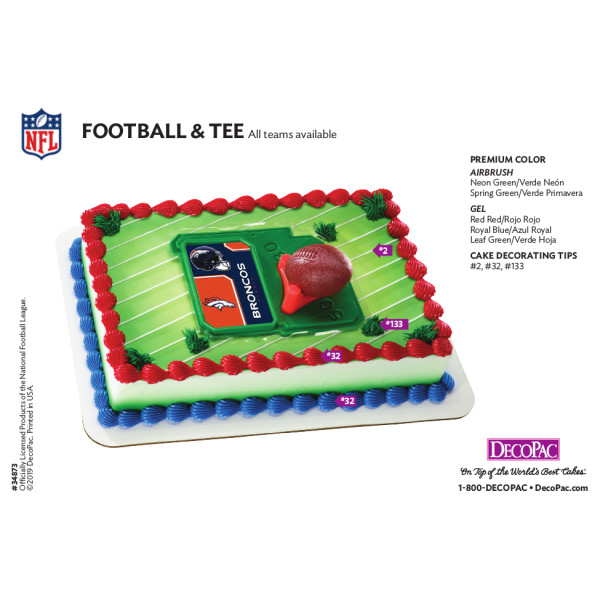 NFL Football & Tee Cake Decorating Instruction Card