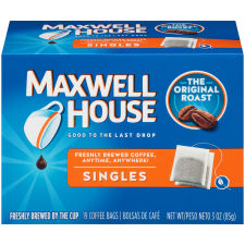 Maxwell House Singles Original Roast Instant Coffee Bags 19 count Box