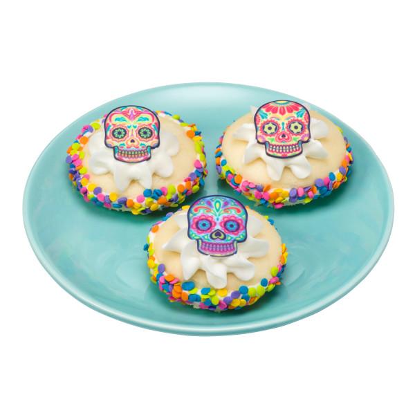 Bright Skulls Assortment SugarSoft® Printed Edible Decorations