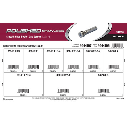 Polished Stainless Smooth-Head Socket Cap Screws Assortment (3/8