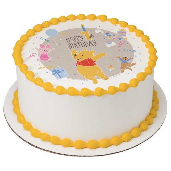 Disney Baby Winnie the Pooh Happy 1st Birthday PhotoCake® Edible Image®
