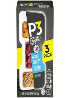 PLANTERS P3 Honey Roasted Peanuts, Maple Glazed Ham Jerky, Sunflower Kernels 3-1.8 oz Packs