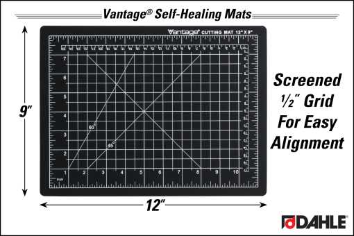 "Dahle Vantage® 9"" x 12"" Self-Healing Cutting Mat, Black - InfoGraphic"