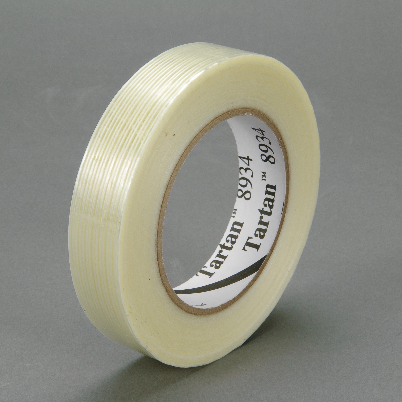 Tartan™ Filament Tape 8934, Clear, 36 mm x 55 m, 4 mil, 24 rolls per case