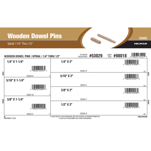 Spiral Wooden Dowel Pins Assortment (1/4