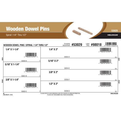 Spiral Wooden Dowel Pins Assortment (1/4