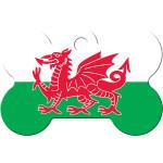 Welsh Flag Chrome Large Bone Quick-Tag