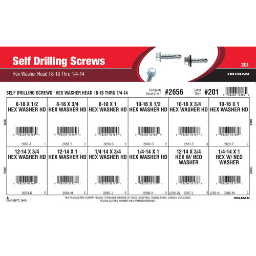 Hex Washer-Head Self-Drilling Screws Assortment (#8-18 thru 1/4