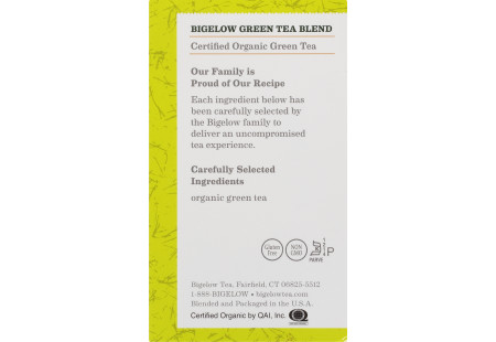 Ingredient panel of Orgranic Green Tea box of 40 tea bags