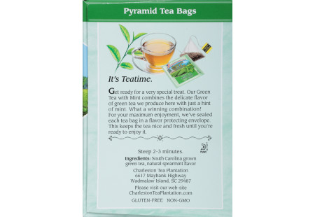 Ingredient panel of Charleston Tea Green Tea with Mint Box of tea
