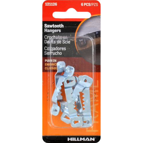 Hillman Small Push-In-Self-Leveling Sawtooth Hanger Pack of 6