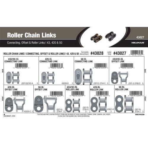 Roller Chain Links Assortment (#43, 420 & 50)