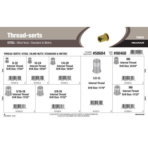 Steel Thread-serts Assortment (Standard & Metric Blind Nuts)