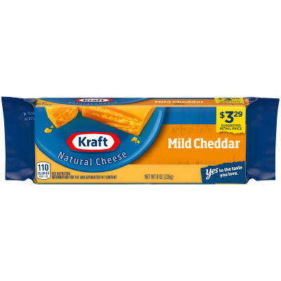Kraft Mild Natural Cheddar Cheese Block 8 oz Wrapper