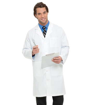 Landau 3 Pocket White Lab Coat for Men - Classic Relaxed Fit, 5 Button, Full Length 3139-