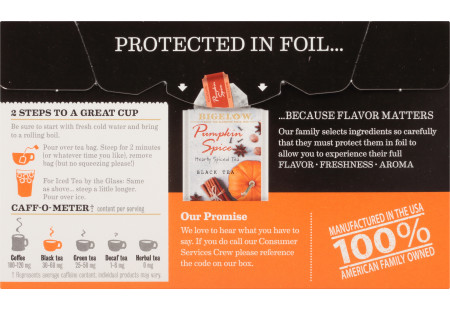Back of Pumpkin Spice Black Tea box