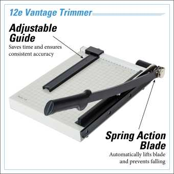 Dahle Vantage® 12e Trimmer InfoGraphic - Adjustable Guide