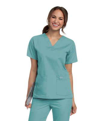 Landau Essentials Scrub Top for Women: 4 Pockets, Classic Relaxed Fit, Durable V-Neck 8219-