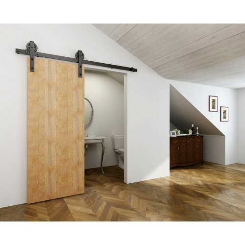 Black Wagon Wheel Side Mount Sliding Barn Door Hardware Kit