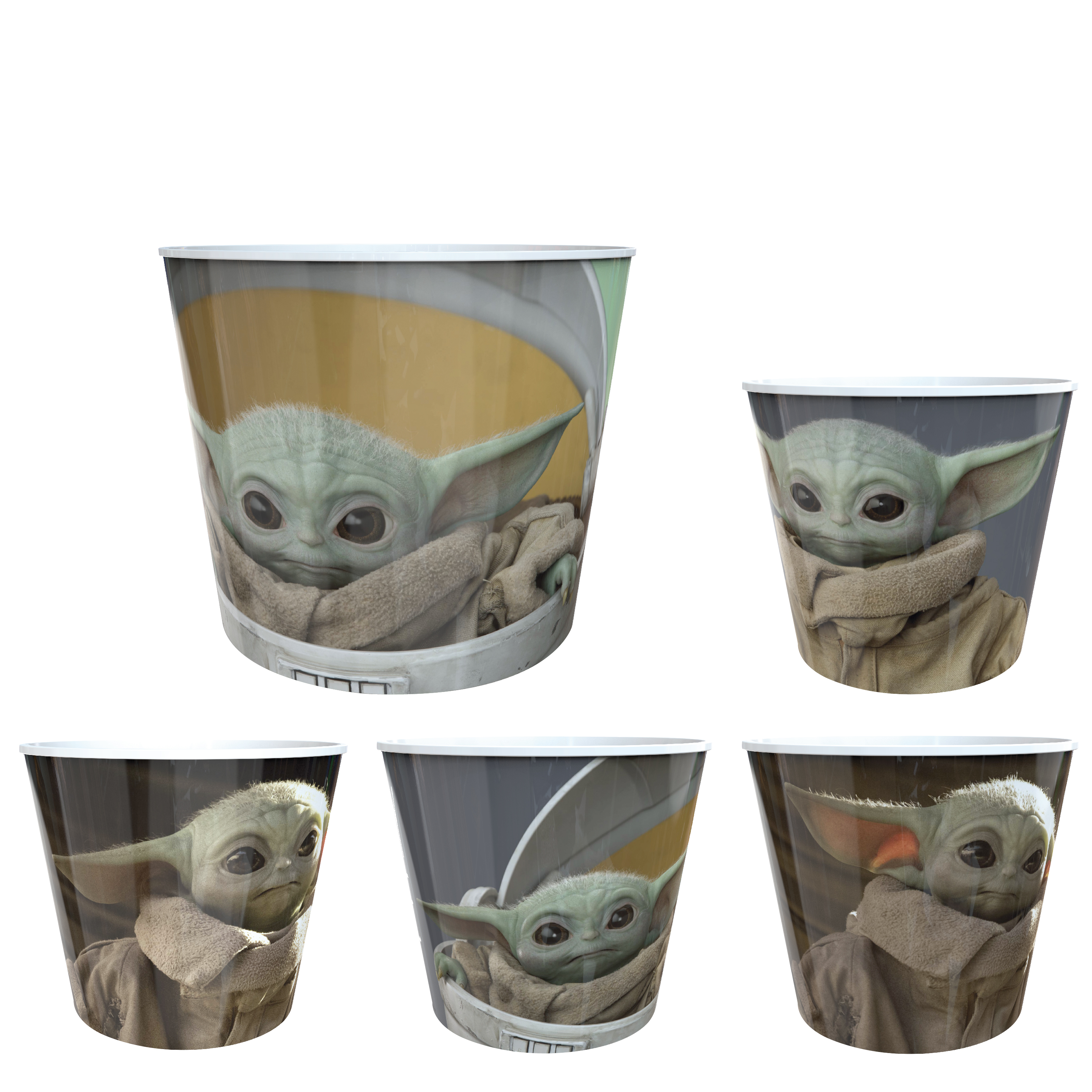 Star Wars: The Mandalorian Plastic Popcorn Container and Bowls, The Child (Baby Yoda), 5-piece set slideshow image 1