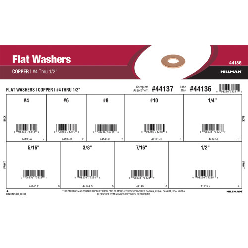 Copper Flat Washers Assortment (#4 thru 1/2