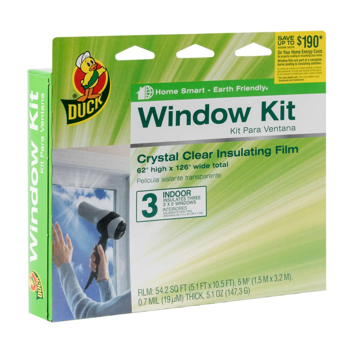 Shrink film window insulation kit 62in x 126in 3pk duck for Window insulation kit