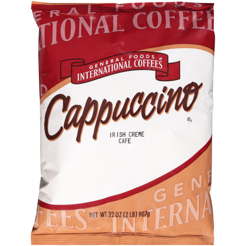 GENERAL FOODS INTERNATIONAL CAFÉ Irish Cream Cappuccino Powder, 2 lb. Container (Pack of 6)
