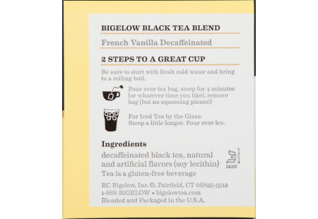 Ingredient panel of French Vanilla Decaffeinated Tea box